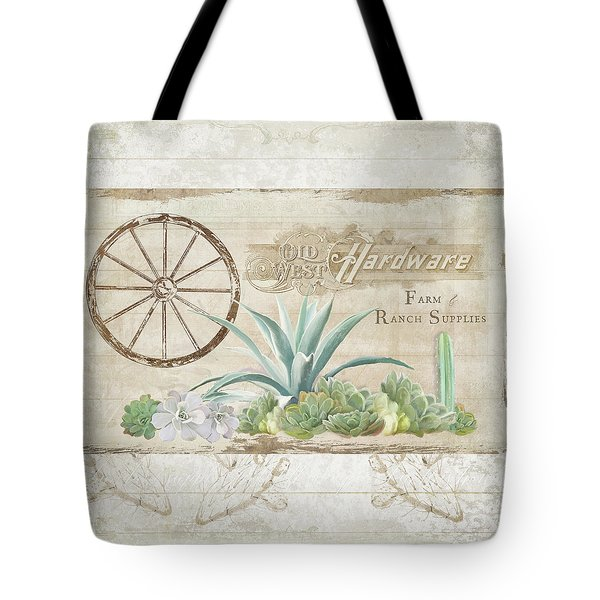 Tote Bag featuring the painting Western Range 4 Old West Desert Cactus Farm Ranch  Wooden Sign Hardware by Audrey Jeanne Roberts