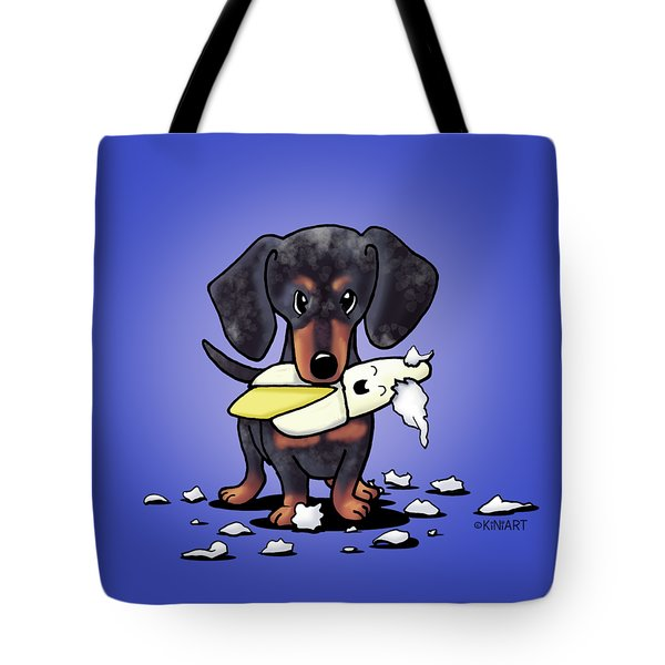 Dapple Doxie Destroyer Tote Bag by Kim Niles