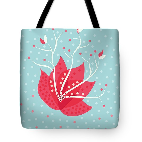 Exotic Pink Flower And Dots Tote Bag