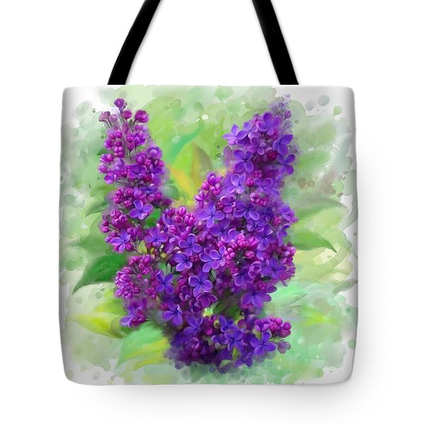 Tote Bag featuring the painting Watercolor Lilac by Ivana Westin