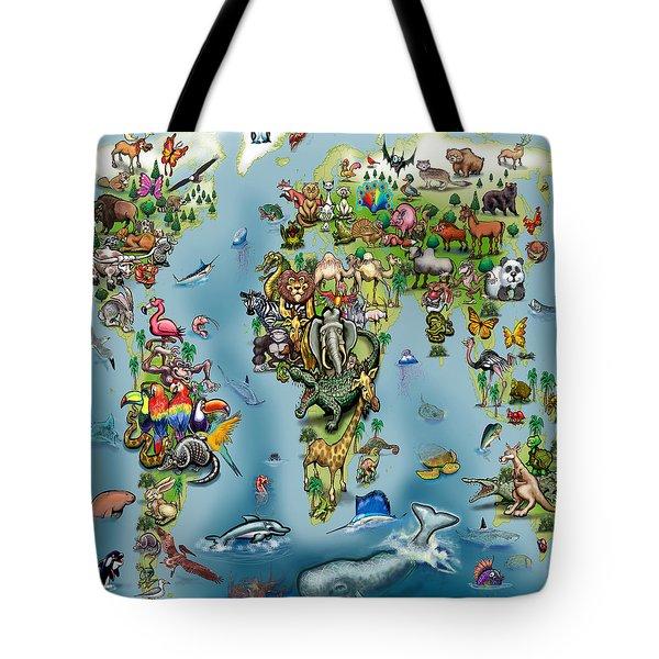 Animals World Map Tote Bag