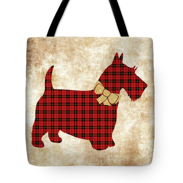 Tote Bag featuring the mixed media Scottie Dog Plaid by Christina Rollo