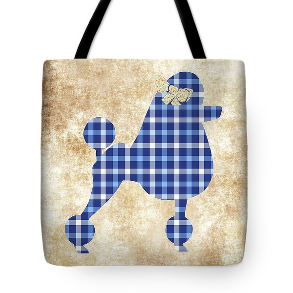 Tote Bag featuring the mixed media French Poodle Plaid by Christina Rollo