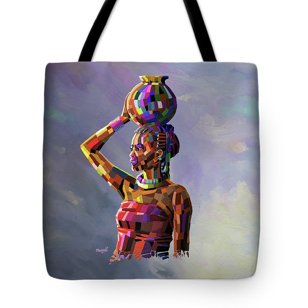 Girl Carrying Water Tote Bag by Anthony Mwangi