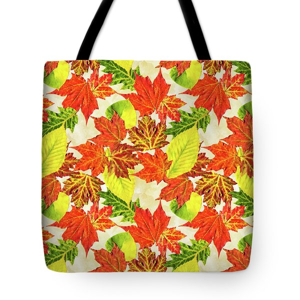Tote Bag featuring the mixed media Fall Leaves Pattern by Christina Rollo