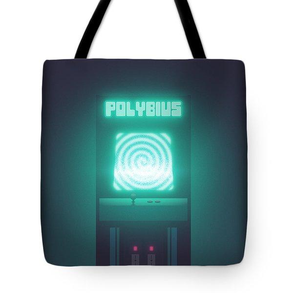 Polybius Arcade Game Machine Cabinet - Front Black Tote Bag