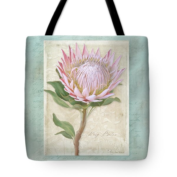 King Protea Blossom - Vintage Style Botanical Floral 1 Tote Bag by Audrey Jeanne Roberts