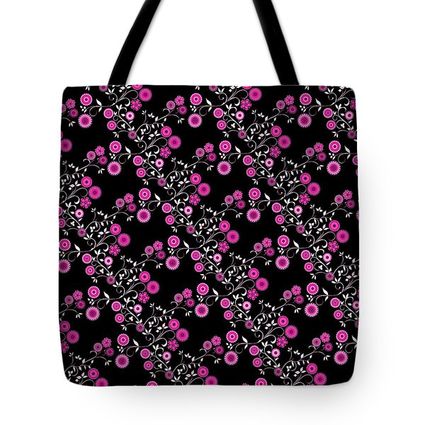 Pink Floral Explosion Tote Bag by Methune Hively