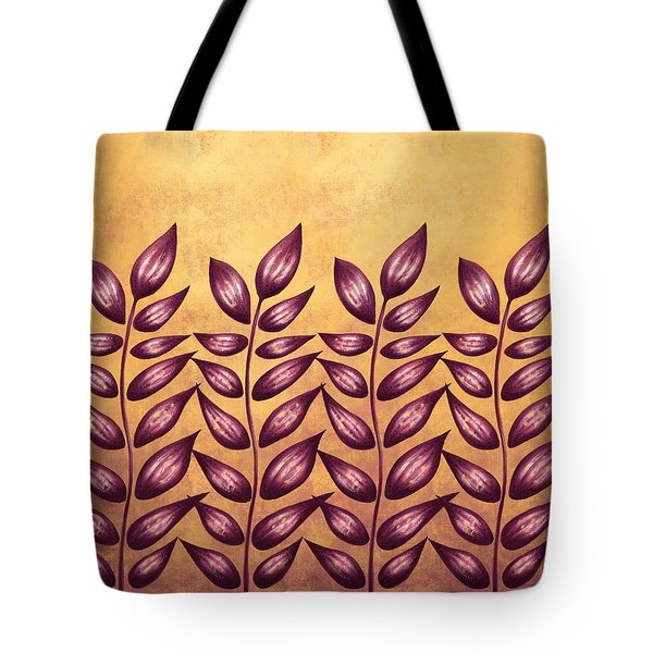 Abstract Plant With Pointy Leaves In Purple And Yellow Tote Bag