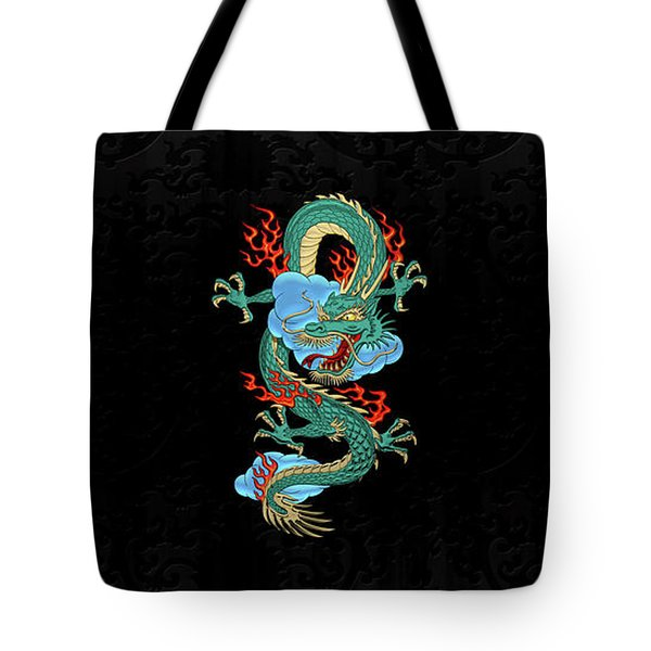 The Great Dragon Spirits - Turquoise Dragon On Black Silk Tote Bag by Serge Averbukh