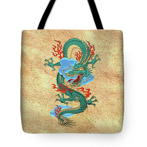 The Great Dragon Spirits - Turquoise Dragon On Rice Paper Tote Bag by Serge Averbukh