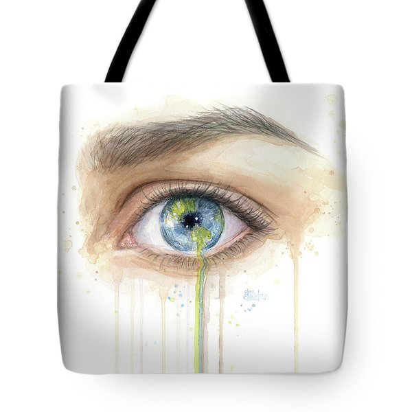 Earth In The Eye Crying Planet Tote Bag