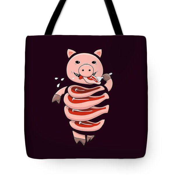 Gluttonous Self-eating Pig Tote Bag