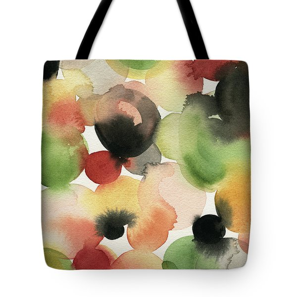 Yellow Green Orange Black Abstract Watercolor Tote Bag