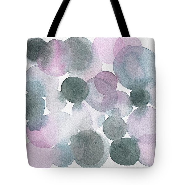 Lavender And Gray Circles Abstract Watercolor Tote Bag