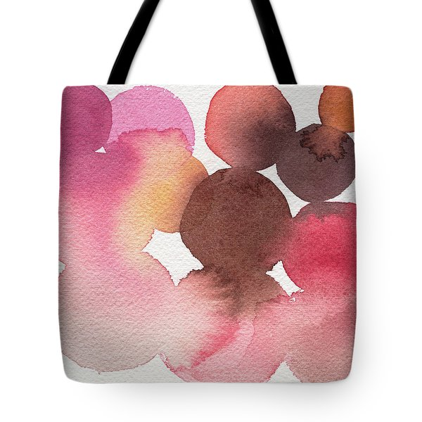 Pink Brown Coral Abstract Watercolor Tote Bag