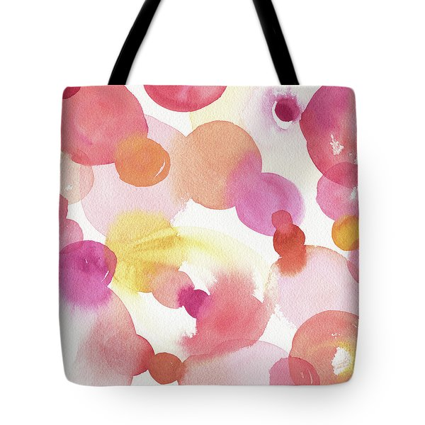 Pink Orange Yellow Abstract Watercolor Tote Bag