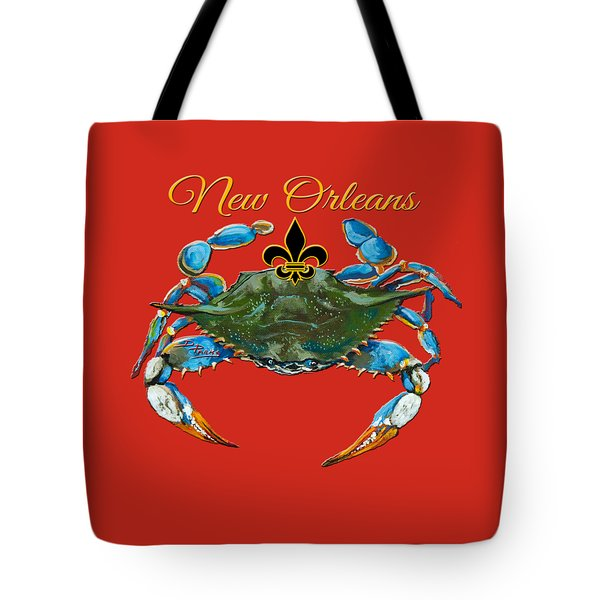 Tote Bag featuring the painting Louisiana Blue On Red by Dianne Parks