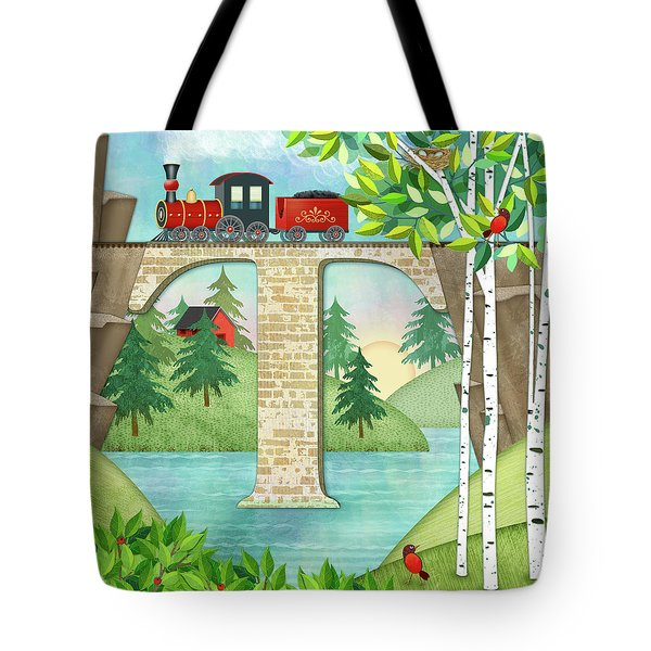 T Is For Train And Train Trestle Tote Bag