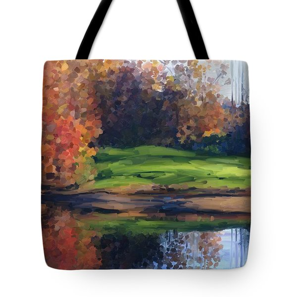 Autumn By Water Tote Bag