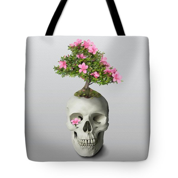 Tote Bag featuring the painting Bonsai Skull by Ivana Westin