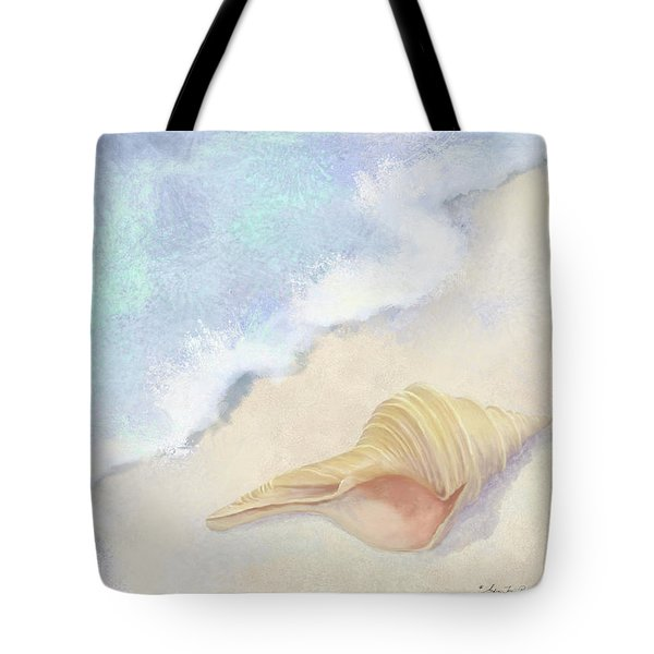 Tote Bag featuring the painting Dance Of The Sea - Australian Trumpet Shell Impressionstic by Audrey Jeanne Roberts