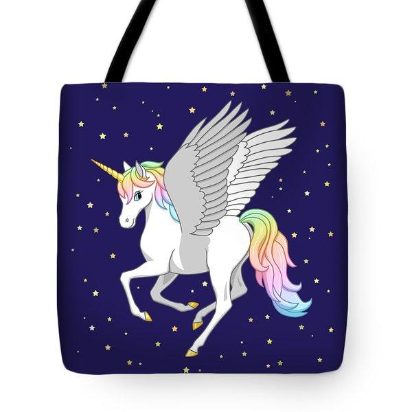 Pretty Rainbow Unicorn Flying Horse Tote Bag