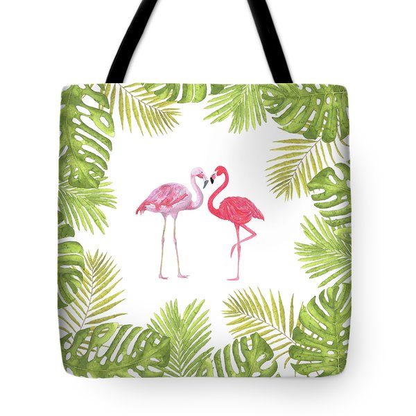 Tote Bag featuring the painting Magical Tropicana Love Flamingos And Leaves by Georgeta Blanaru