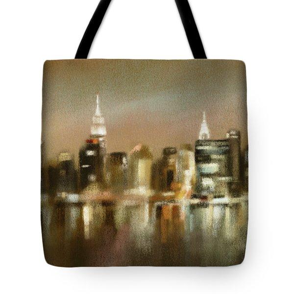 Luminous New York Skyline  Tote Bag