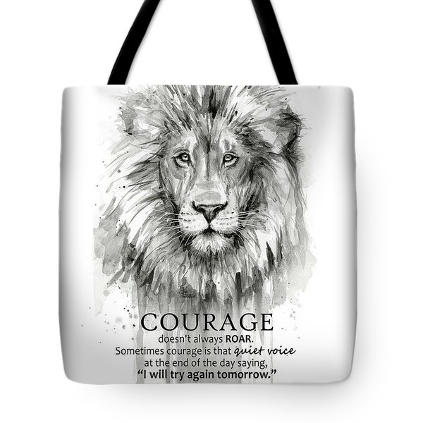 Lion Courage Motivational Quote Watercolor Animal Tote Bag