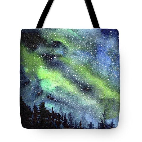 Galaxy Watercolor Nebula Northern Lights Tote Bag