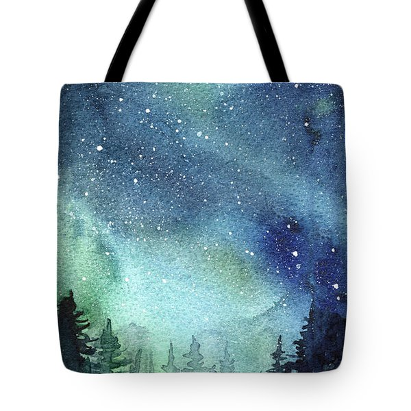 Galaxy Watercolor Aurora Painting Tote Bag