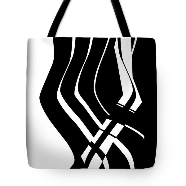 Tote Bag featuring the digital art Organic No 6 Black And White by Menega Sabidussi