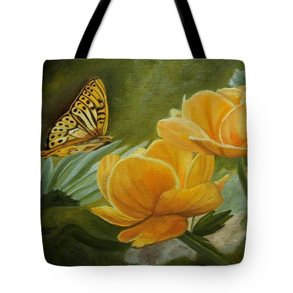 Butterfly Among Yellow Flowers Tote Bag