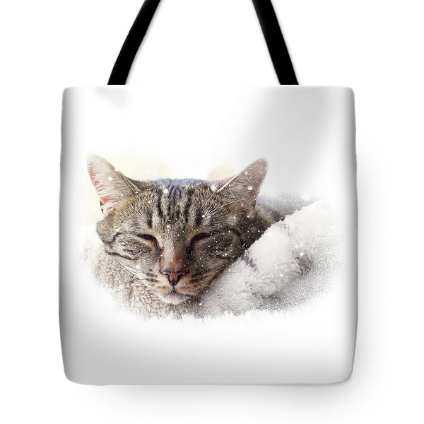 Tote Bag featuring the photograph Cat And Snow by Helga Novelli