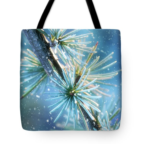 Blue Atlas Cedar Winter Holiday Card Tote Bag