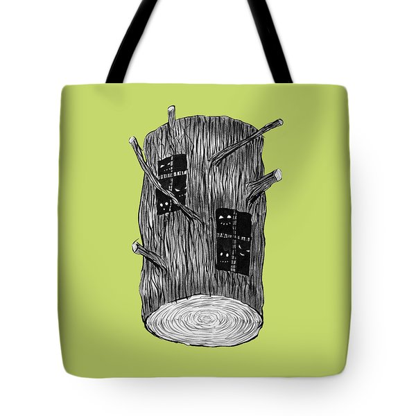 Tree Log With Mysterious Forest Creatures Tote Bag