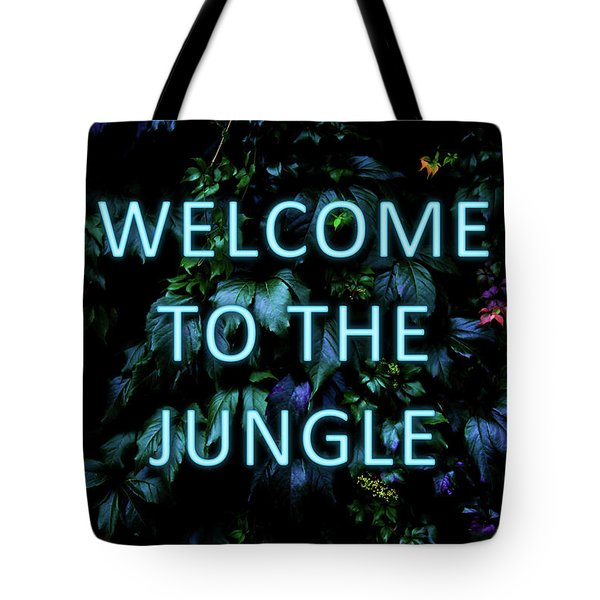Welcome To The Jungle - Neon Typography Tote Bag