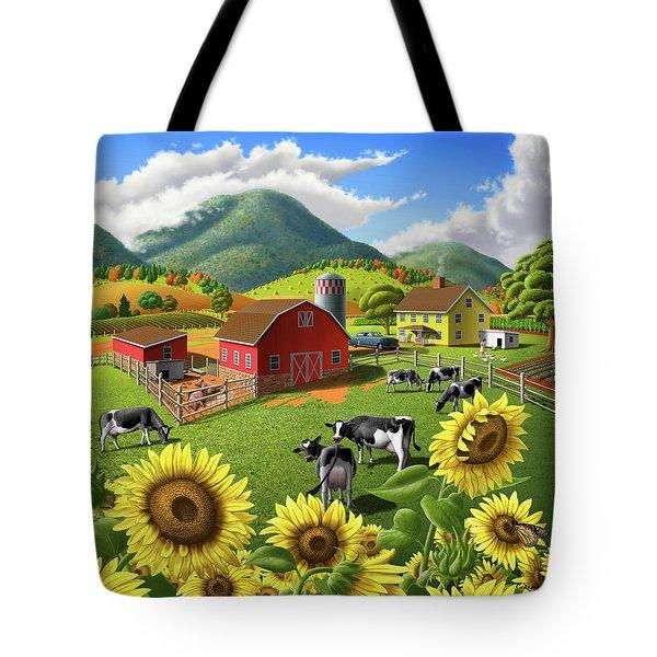 Sunflowers Cows Appalachian Farm Landscape - Rural Americana - Farm Animals - 1950 Farm Life - Barn Tote Bag