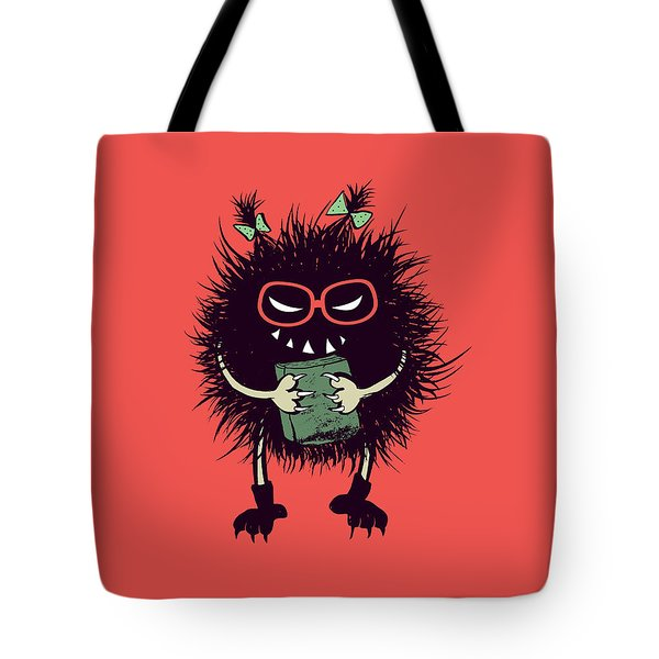 Geek Evil Bug Character Loves Reading Tote Bag