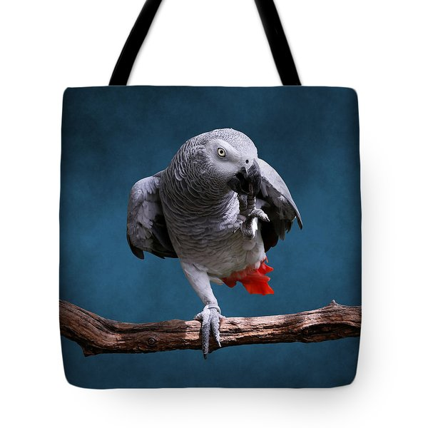 Secretive Gray Parrot Tote Bag