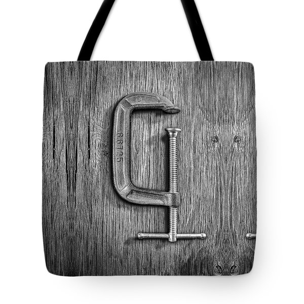 Iron C-clamp On Plywood 68 In Bw Tote Bag