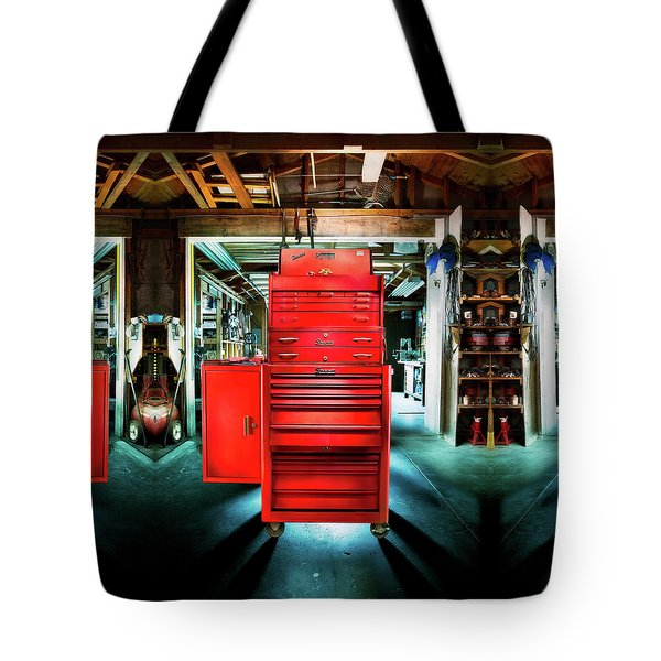Mechanics Toolbox Cabinet Stack In Garage Shop Tote Bag