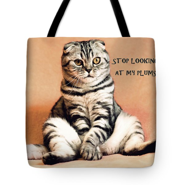 Tote Bag featuring the digital art Stop Looking At My Plums by Anthony Murphy