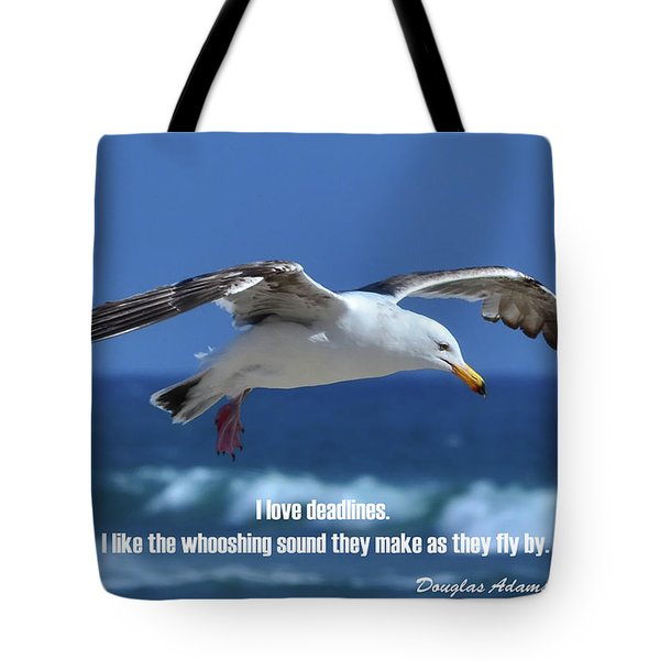 Tote Bag featuring the digital art I Love Deadlines Douglas Adams by Anthony Murphy