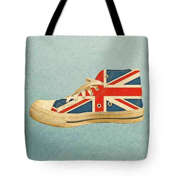 Tote Bag featuring the digital art Hi Top With England Flag by Anthony Murphy
