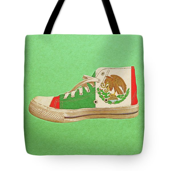 Tote Bag featuring the digital art Hi Top With Mexican Flag by Anthony Murphy