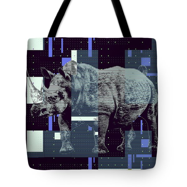 Tote Bag featuring the digital art A Geometric Rhinoceros. by Anthony Murphy