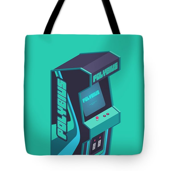 Polybius Arcade Game Machine Cabinet - Isometric Green Tote Bag