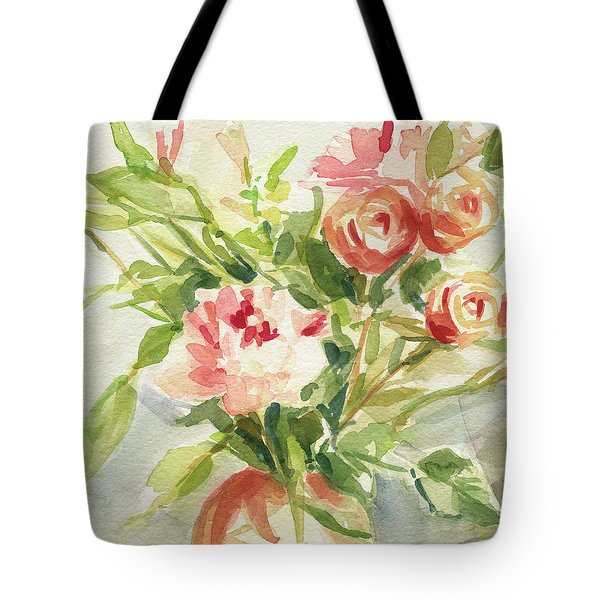 Peach And Yellow Carnations And Roses Tote Bag